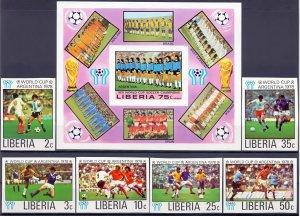 Liberia. 1978. 1061B-66B + 6LB. Soccer world cup. MNH.
