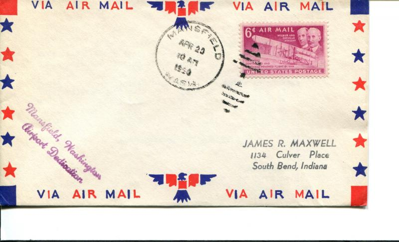 USA SC# C45 Mansfield Washington  Airport Dedication Patriotic Cover