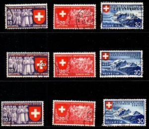 Switzerland Sc 247-55 1939 National Expo stamps used