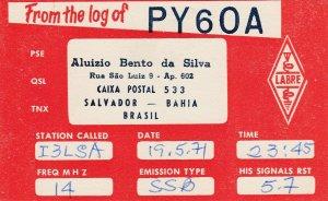 7147 Amateur Radio QSL Card  SALVADOR BAHIA BRAZIL
