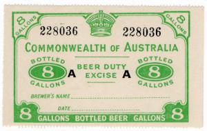 (I.B-CK) Australia Revenue : Beer Duty Excise (8 Gallons) inverted CofA wmk
