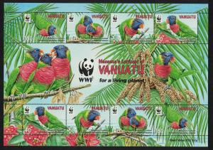 Vanuatu Birds WWF Rainbow Lorikeet MS SG#MS1098 SC#1007 MI#1443-1446