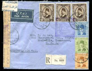 1941 Gizira Egypt Registered Airmail WWII Censor Special Violet Boxed Cancel USA