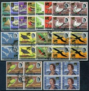 Pitcairn Islands 1967 QEII Decimal Overprint set blocks VFU. SG 69-81. Sc 72-84.