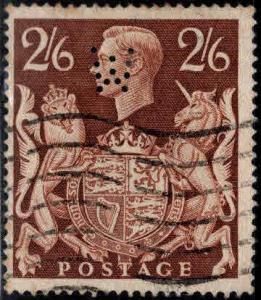 Great Britain Scott 249 Used 1939 KGVI UsedI stamp W Perfin