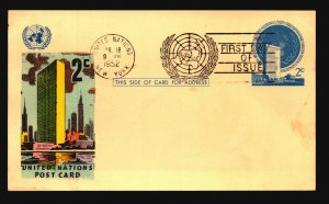 UN 1952 Postal Card FDC / Hand Colored Cachet - L3766