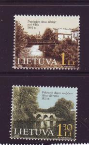 Lithuania Sc 695-6 2001 Bridges stamp set  NH