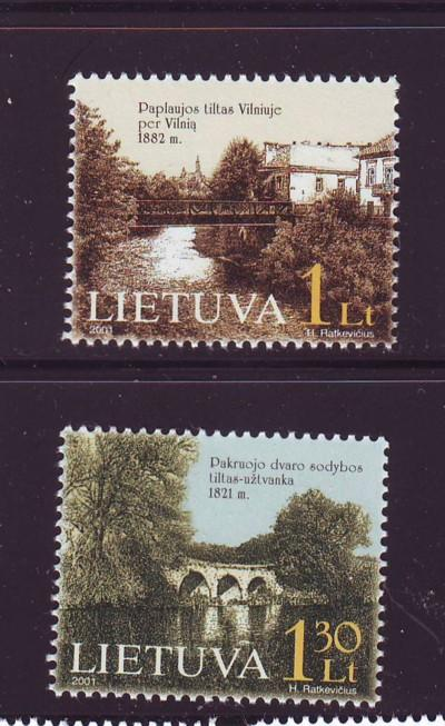 Lithuania Sc 695-6 2001 Bridges stamp set  NH