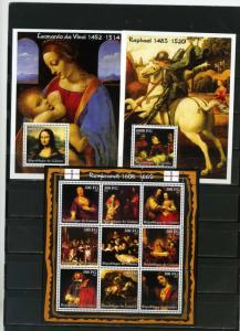 GUINEA 2002 FAMOUS PAINTINGS SHEET OF 9 STAMPS & 2 S/S MNH
