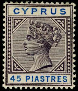 CYPRUS SG49, 45pi grey-purple & blue, M MINT. Cat £120.