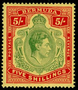 BERMUDA SG118, 5s Green and Red/Yellow, M MINT. Cat £150.
