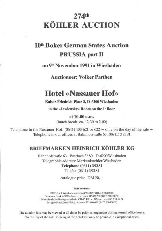 Kohler: Sale # 274  -  John R. Boker, Jr., PREUSSEN: Teil...