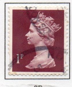 Great Britain Sc MH199 1993 1p magenta QE II  Machin Head stamp used