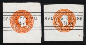 SCOTT #U529 - 6C ORANGE WASHINGTON CUT SQUARES USED NYC CANCELS (LOT OF 2) 1932