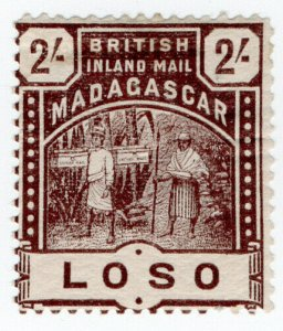 (I.B) Madagascar Postal : British Inland Mail 2/- (Loso)