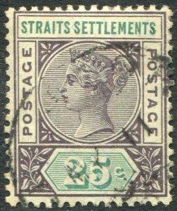STRAITS SETTLEMENTS-1892-99 25c Purple-Brown & Green Sg 103 FINE USED V50178