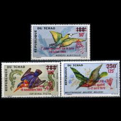 CHAD 1970 - Scott# C67-9 Birds Opt. Set of 3 NH