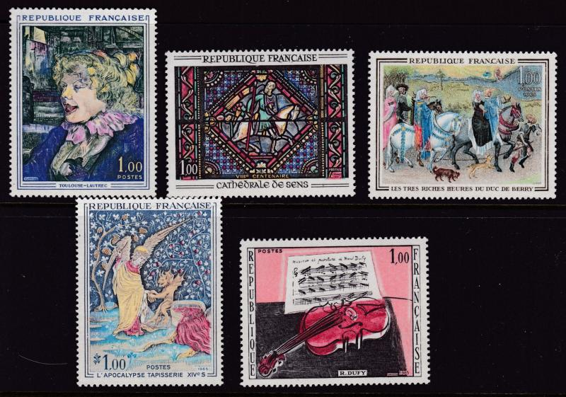 France 1965 ART Issue Complete (5) Beautiful Stamps in Pristine Condition VF/NH