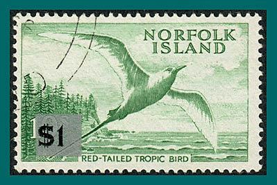 Norfolk Island 1966 Surcharge Tropic Bird, large tablet, used  #82,SG71
