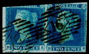SG14, 2d blue, USED. Cat £170. PAIR. HA HB