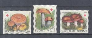 Finland Sc B221-3 1980 Mushrooms Red Cross stamp set mint NH