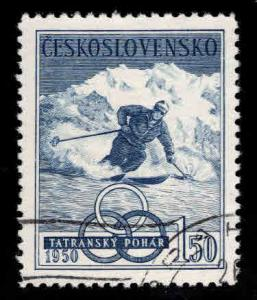 Czechoslovakia Scott 401 Used CTO 1950 Olympic skistamp