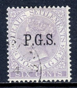 MALAYA (PERAK) — SCOTT O5 (SG O3) — 1889 6c QV P.G.S. OFFICIAL — USED — SCV $60