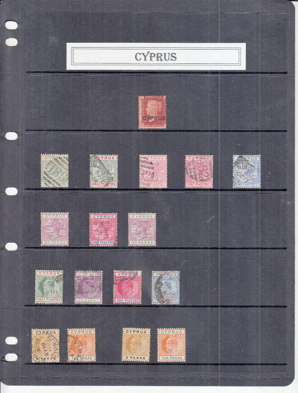 CYPRUS STOCKPAGE VICTORIA-EDWARD 7TH DEFINITIVE VALUES MINT/USED