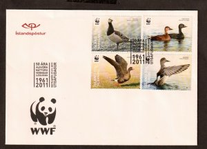 2011  ICELAND -SG:1302/05 - 50TH ANNIV. OF WWF -  FIRST DAY COVER - BIRDS