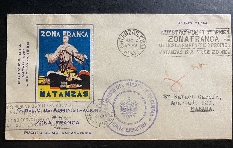 1935 Matanzas Cuba First Day offical cover FDC to Habana Duty free Zone label