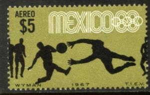 MEXICO C331, $5P Soccer 3rd Pre-Olympic Set 1967. MINT NH. VF.