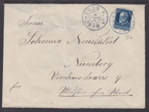 Bavaria Sc 102 on 1916 cover, MUNCHEN-NURNBERG, solo use, VF
