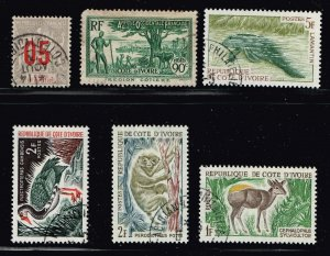 FRANCE COLONIES IVORY COAST USED STAMP COLLECTION LOT  #6
