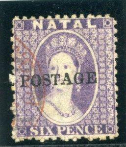 Natal 1875 QV POSTAGE 6d violet very fine used. SG 83. Sc 49.
