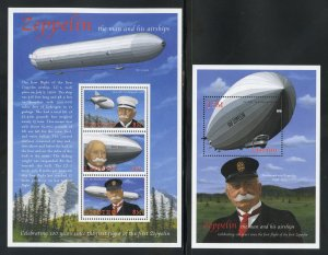 Lesotho 1225-26 MNH, Von Zeppelin Souvenir Sheets from 2000.
