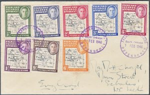 Falkland Island Deps 1946 Thick Maps FDC with POKE Flaw x 2 Very Scarce