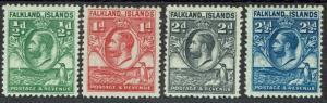 FALKLAND ISLANDS 1929 KGV WHALE AND PENGUIN 1/2D - 21/2D