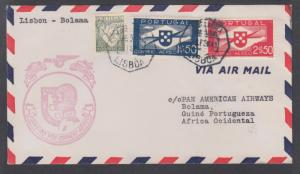Portugal Sc 505, C1, C3 on 1941 Pan-Am First Flight Cover, Lisbon to Bolama, PG