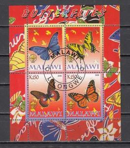 Malawi, 2008 Cinderella issue. Butterflies sheet of 4. Canceled, C.T.O.
