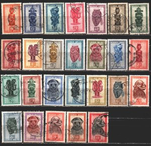 Congo. 1947. 263-88. Art of the peoples of Africa, masks, figurines. USED.