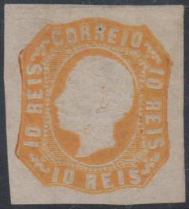 PORTUGAL 1862-64 KING LUIZ Sc 13 ORANGE UNUSED SCV$125.00