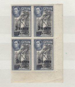 Ceylon KGVI 1940 3c On 20c Blocks Of 4 SG399 MNH JK2530