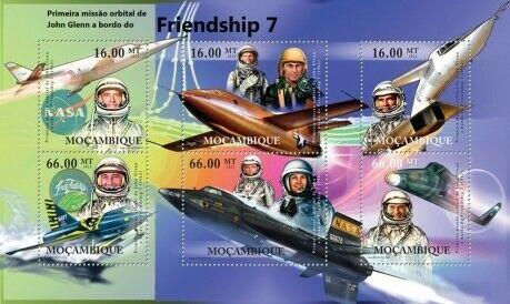 Mozambique MNH S/S Friendship 7 John Glenn 6 Stamps