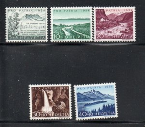 Switzerland Sc B232-36 1954 Pro Patria, views, stamp set mint NH