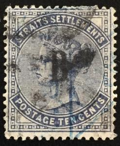 Straits Settlements 1884 British PO in Siam opt QV 10c CA Used SG#21
