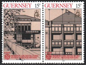 Guernsey. 1987. 389-90 from the series. Modern architecture, europe-sept. MNH.