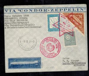 1932 Paraguay Graf Zeppelin Cover to Lorch Germany Sieger LZ 127 Star of David