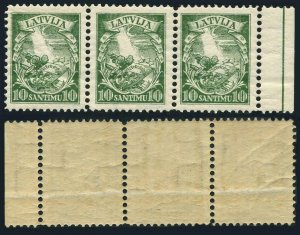 Latvia 176 strip of 3,MNH.Michel 234. Arms and Shield,1934.