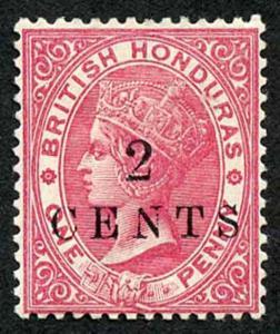 British Honduras SG27 2 CENTS on 1d Rose wmk Crown CA Fresh M/Mint