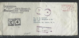 ST LUCIA COVER (P0811B) 1961 INCOMING COVER FROM US POSTAGE DUE 2C+4C  WOW